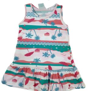 vestido malwee estampado com babado tropical