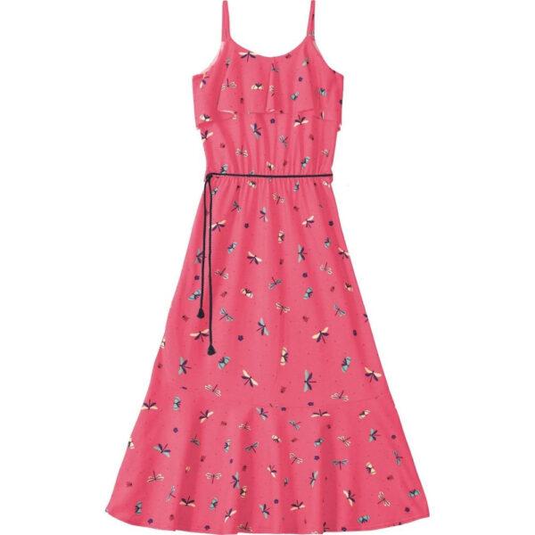 Vestido Longo Infantil Verão Rosa Libelulas Malwee