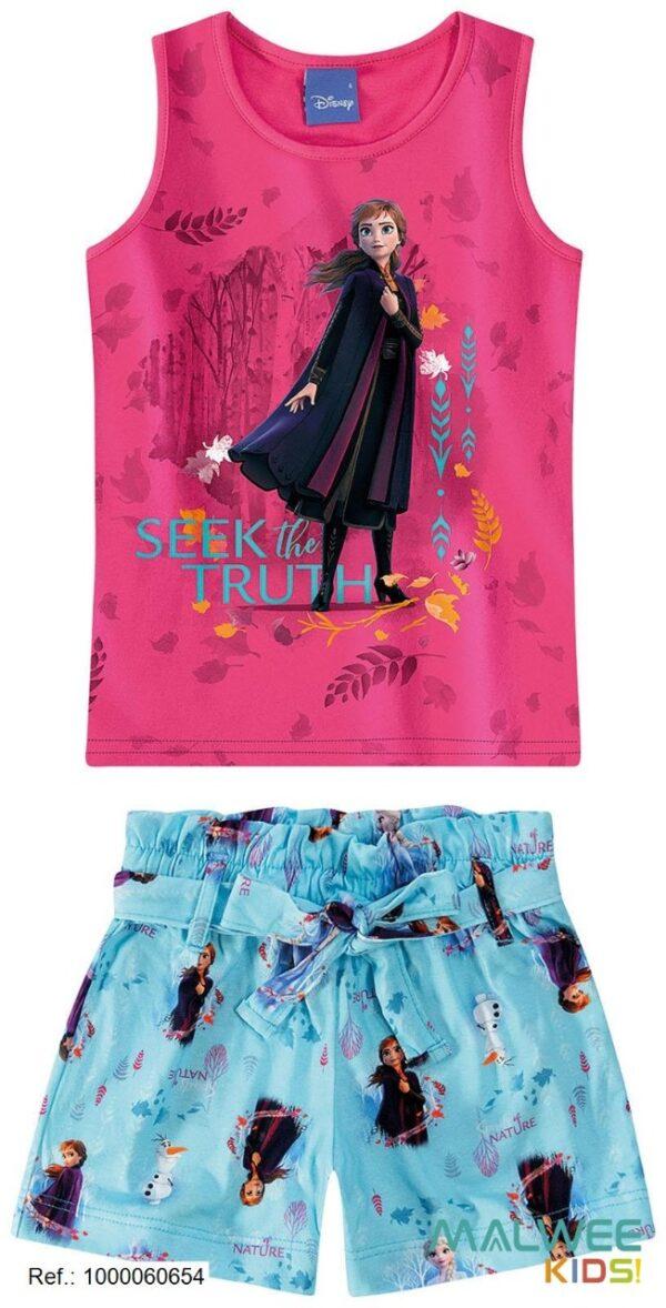 Conjunto Infantil Feminino Regata + Short Frozen II Disney Malwee Kids