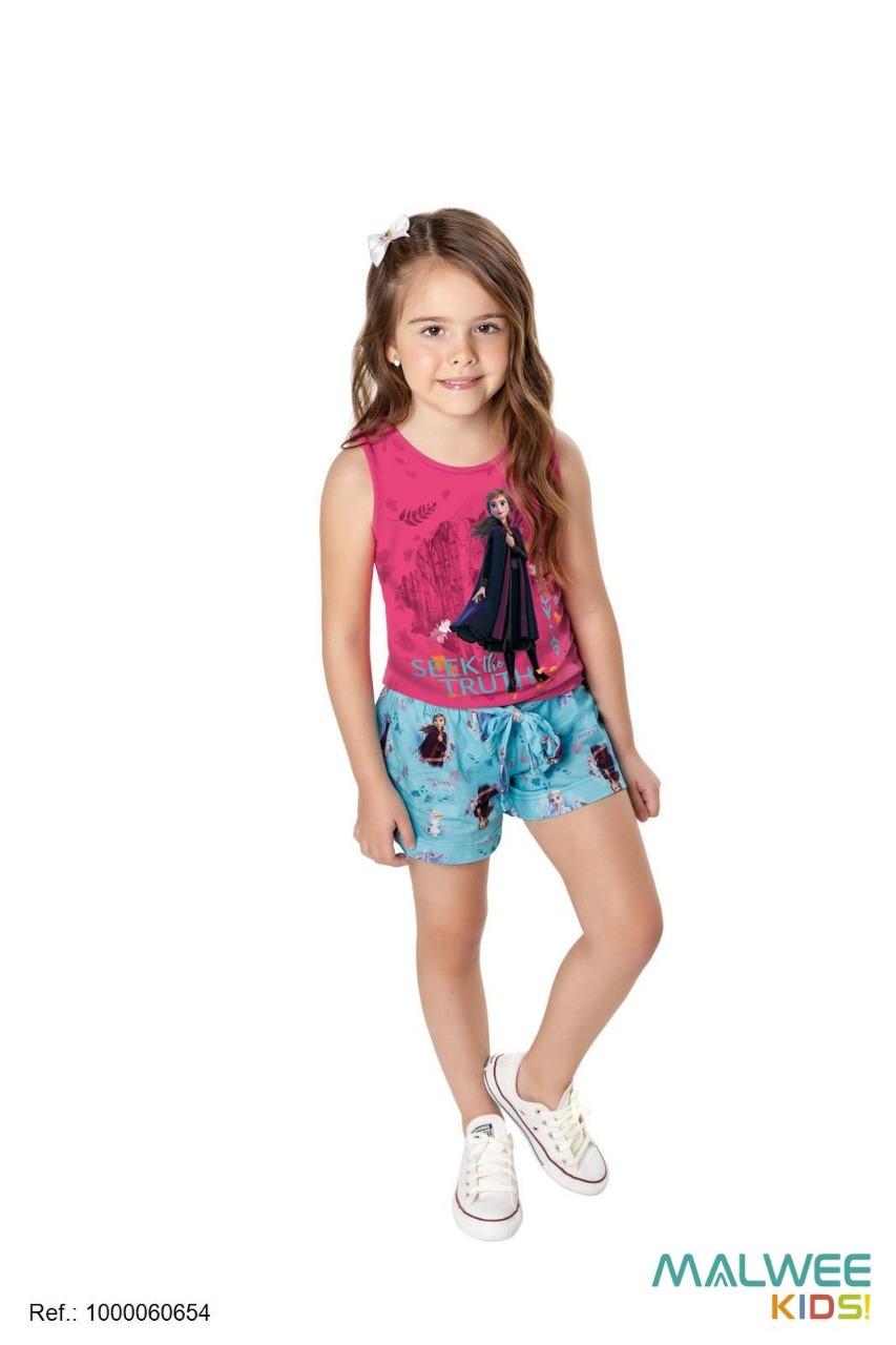 Conjunto Infantil Feminino Regata + Short Frozen II Disney Malwee Kids Menina