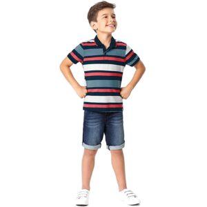 camisa polo listrada azul marinho branco e azul-menino