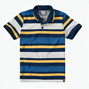 camisa polo listrada amarela azul branco