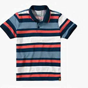 camisa polo listrada azul marinho branco e azul