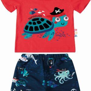 conjunto infantil bebê masculino blusa vermelha com bermuda zig zig zaa