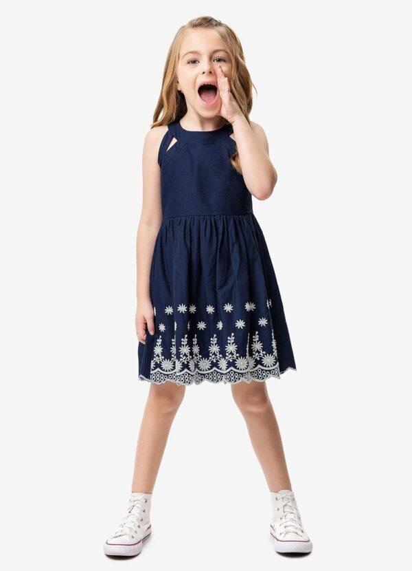 menina vestido azul escuro evasê bordado malwee kids