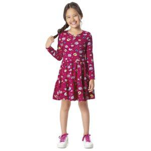 menina vestido infantil feminino rosa espacial