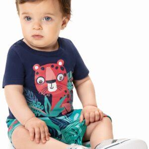 bebê usando conjunto infantil bebê masculino blusa azul com bermuda zig zig zaa