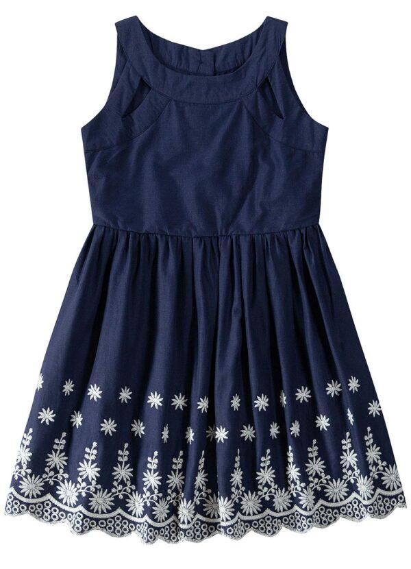 vestido azul escuro evasê bordado malwee kids