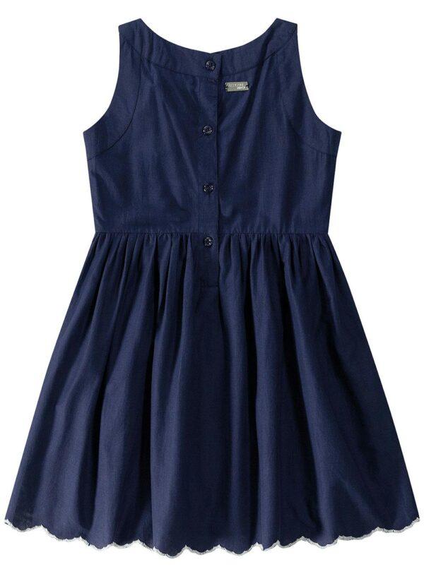 vestido azul escuro evasê bordado malwee kids costas