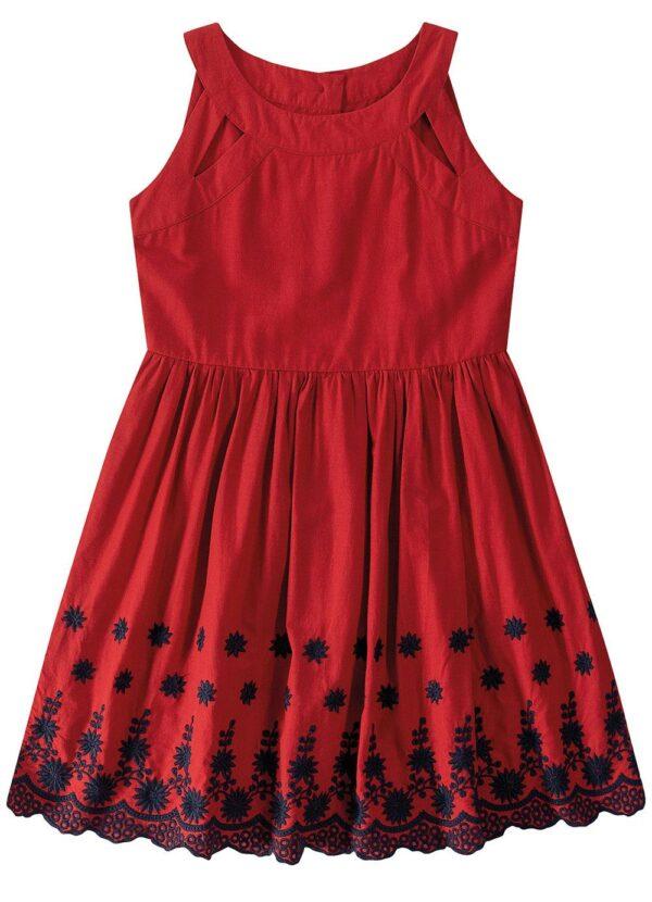 vestido vermelho evasê bordado malwee kids