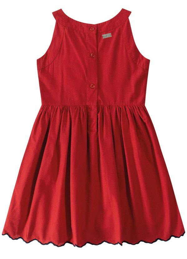 vestido vermelho evasê bordado malwee kids costas