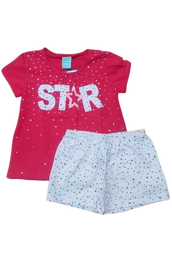 Conjunto Pijama Feminino Rosa Kyly brilha escuro