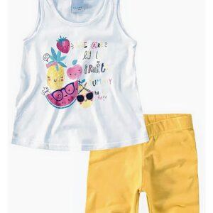 Conjunto feminino Malwee Kids blusa e bermuda