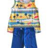 Conjunto feminino Malwee Kids - blusa amarela e short azul