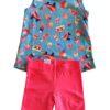 Conjunto feminino Malwee Kids - blusa verde turquesa e short rosa