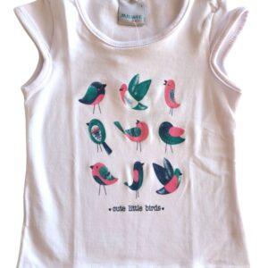 Blusa malwee kids passarinho branca