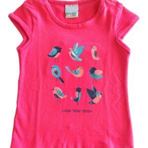 Blusa malwee kids passarinho rosa