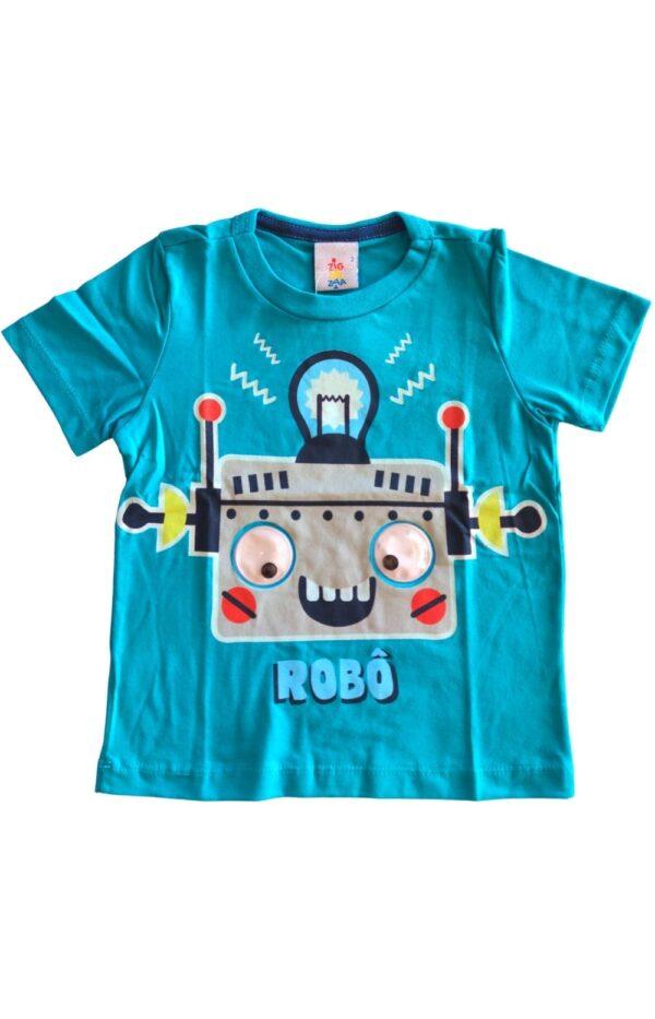 Camiseta masculina articulada azul turquesa zig zig zaa