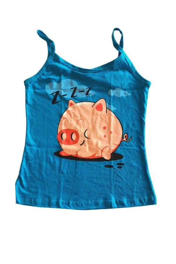 blusa pijama azul estampa porquinho