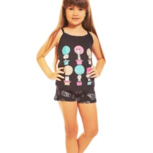 menina pijama preto estampa bichinhos