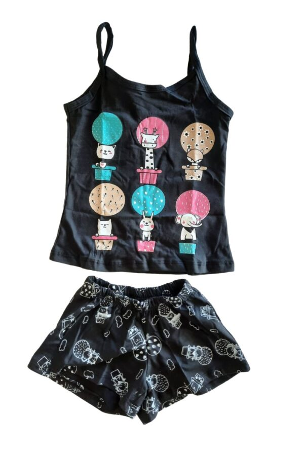 pijama preto estampa bichinhos