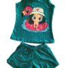 Pijama verde estampa menina lêga maluca