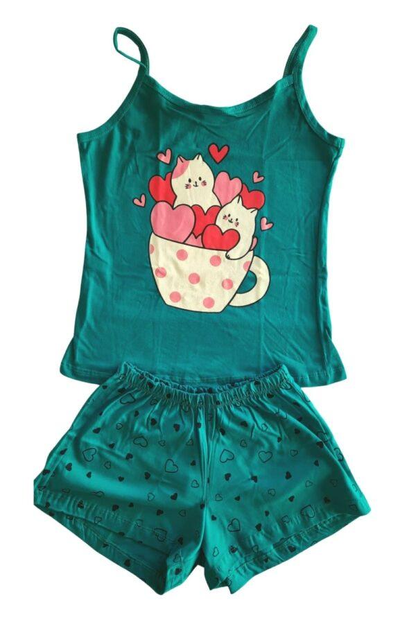 pijama verde estampa xícara
