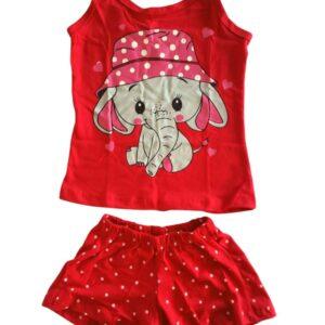 pijama vermelho estampa elefante lêga maluca