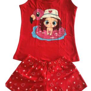 Pijama vermelho estampa menina lêga maluca