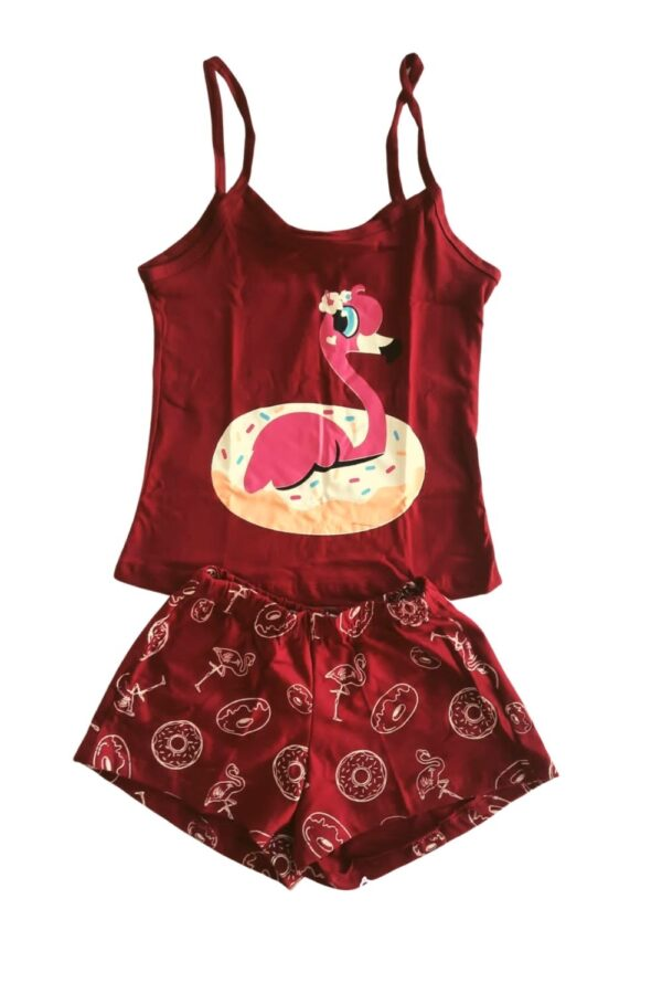pijama vinho estampa flamingo