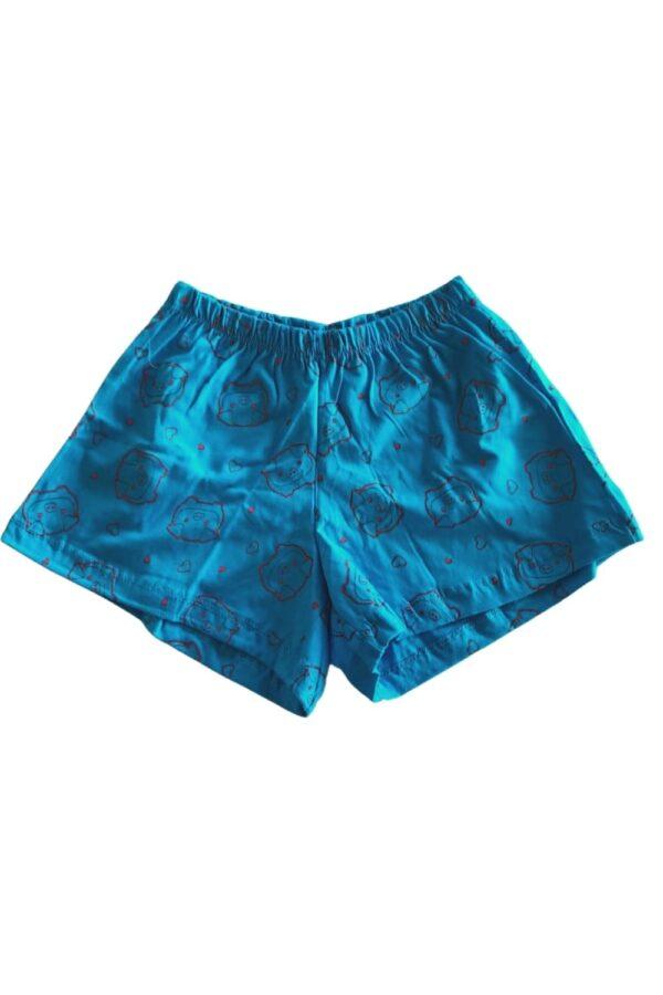 short pijama azul estampa porquinho