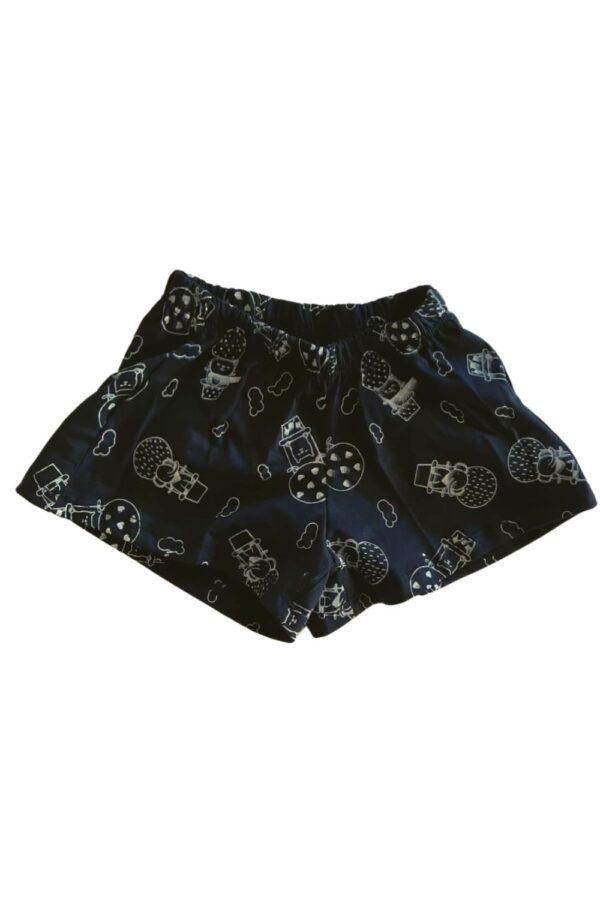 short pijama preto estampa bichinhos