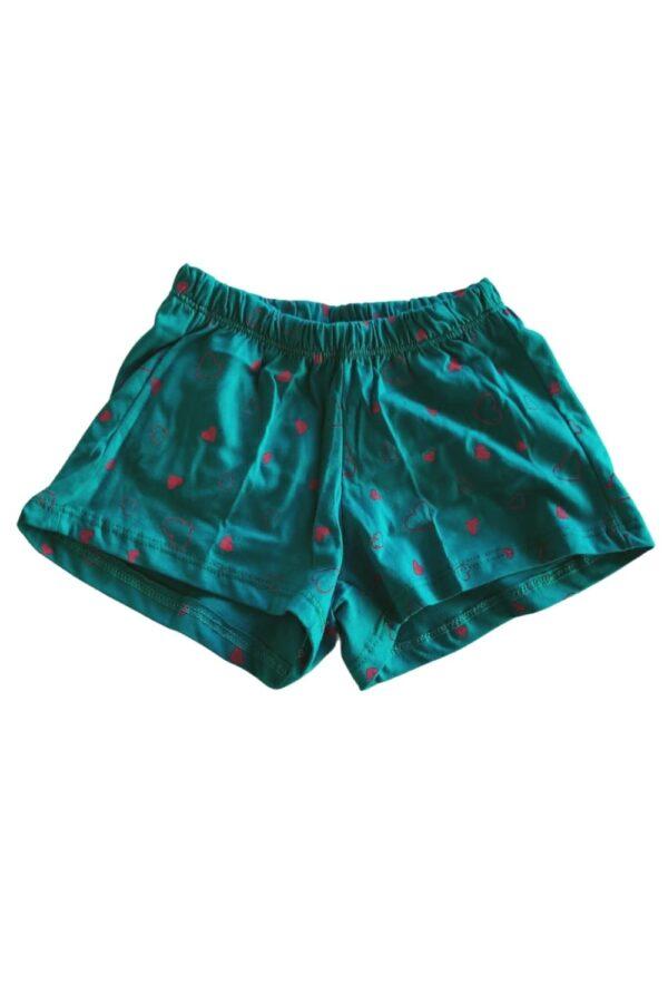 Short pijama verde estampa menina lêga maluca