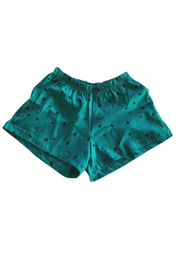short blusa pijama verde estampa xícara