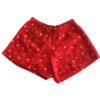 short pijama vermelho estampa menina lêga maluca